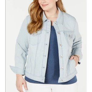 STYLE & CO Blue Striped Cuffed Button Up Jacket 18W Plus Size